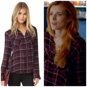 L'Agence Denis Plaid Flannel Button Up Silk Shirt